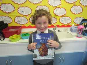 Alfie - Year 1 My favourite book is The Gruffalo's Child by Julia Donaldson. I like this book because it is very cute and the Gruffalo meets lots of animals on his travels.
